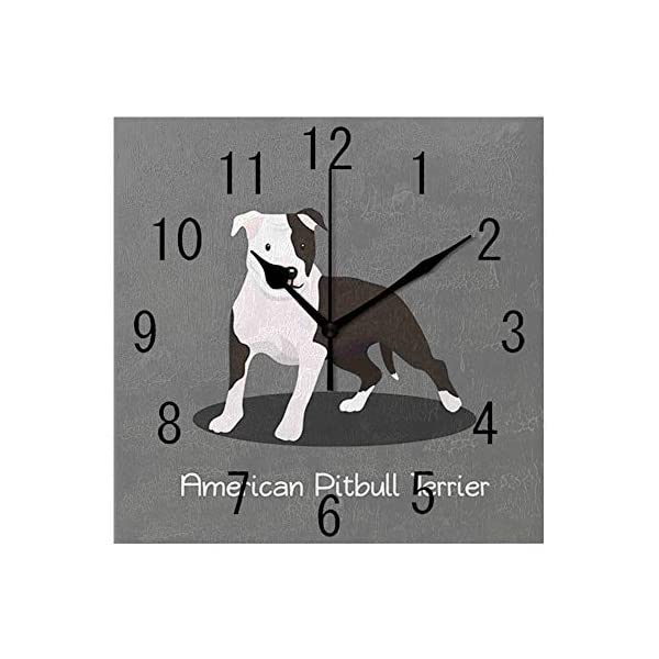 YABABY Square Wall Clock Battery Operated Quartz Analog Quiet Desk 8 Inch Clock, American Pitbull Terrier Pet Cartoon Illustration Graphic Design on Grey Background 1