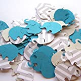 "Custom & Fancy {.75"" x 1"" Inch} Approx 100 Pieces of Large ""Table"" Party Confetti Made of Premium Card Stock w/ Boys Modern Chevron & Plain Elephant Cutout Scatter Topper Design [Blue, White & Gray]"