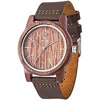 Men's Wooden Watches,UWOOD Natural Handmade Unisex Design Quartz Wrist Watch,Leather Strap Wooden Watch(Brown)