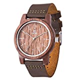 Men Wood Watch,BIOSTON Natural Walnut Cow Leather Band Casual Business Sport Style Quartz Watch