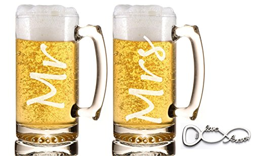 Mr. and Mrs. Beer Mug Gift Set Weddings Engagements Couple Gifts Anniversaries Heavy Duty Beer Mugs with Handles Beer Gifts by Ruby Umbrella