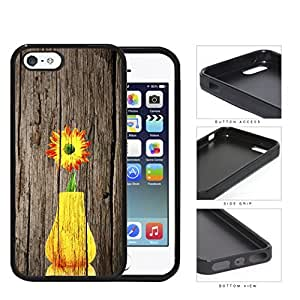 Yellow Vase Sunflower On Wood Bark Rubber Silicone TPU Cell Phone Case Apple iPhone 5 5s