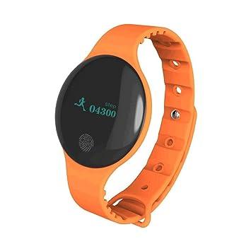 FLy Pantalla Redonda Pulsera Inteligente Deportes Impermeable Llamada Recordatorio Contador De Pasos Bluetooth Salud Reloj Inteligente (Color : Orange): ...