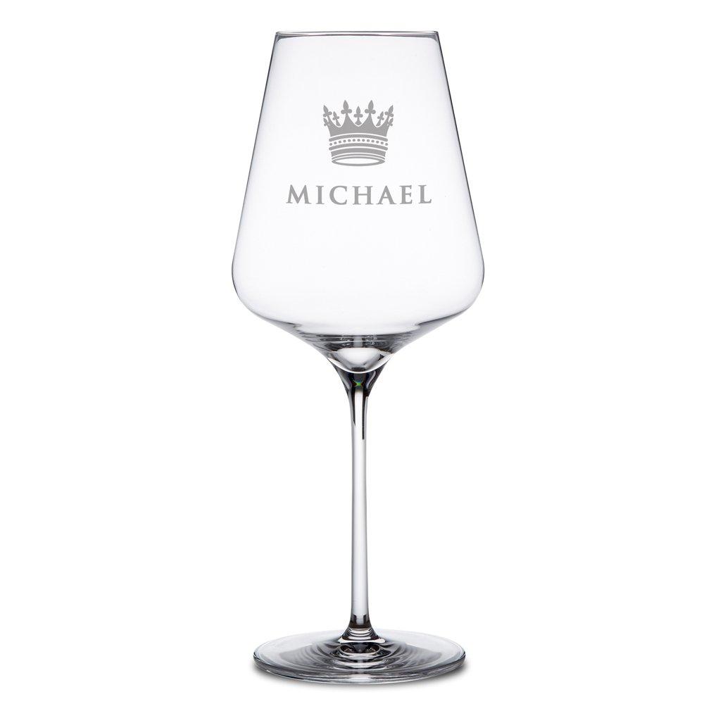 AMAVEL - Verre à vin rouge - Personnalisé avec [NOM] de votre choix - Motif : Couronne - Cadeaux d'anniversaire - Cadeaux de Noël - Idée pour hommes et femmes - Volume de remplissage : env. 644 ml