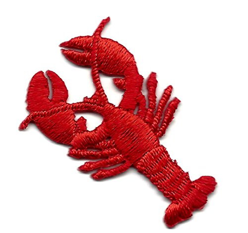 LOBSTER, RED (SMALL) - SHELLFISH-SEAFOOD-CHEF-MAINE/Iron On Embroidered Patch