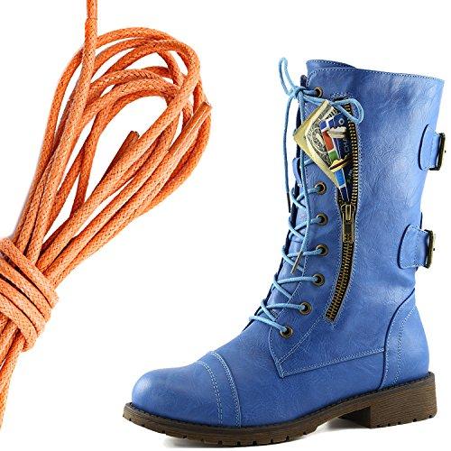 Dailyshoes Donna Militare Allacciatura Fibbia Stivali Da Combattimento A Metà Ginocchio Alta Esclusiva Tasca Per Carte Di Credito, Arancione Cielo Blu