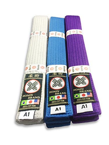 - Ronin Brand BJJ Belt for Brazilian Jiu Jitsu Martial Arts Training (White, A2)