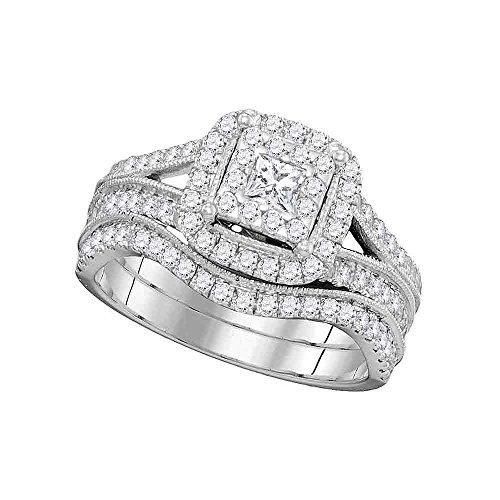 Roy Rose Jewelry 14K White Gold Womens Princess Diamond Square Halo Split-shank Bridal Wedding Engagement Ring Band Set 1-Carat tw -