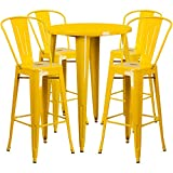 Flash Furniture 30'' Round Yellow Metal Indoor-Outdoor Bar Table Set with 4 Cafe Stools