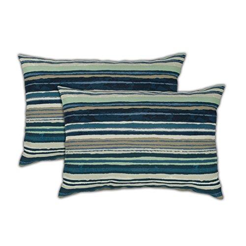 Sherry Kline Lakeview Boudoir (Set of 2) Outdoor Pillow, Teal, Taupe, White ()