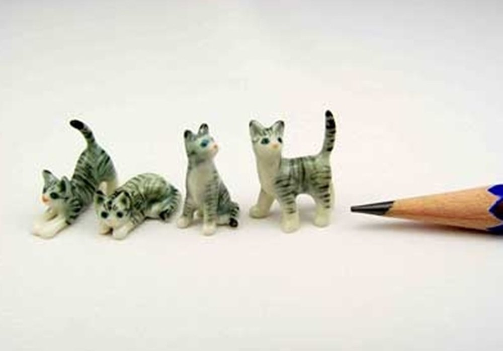 ChangThai Design Dollhouse Miniatures Ceramic Mini Grey Cat set FIGURINE Animals Decor by ChangThai Design
