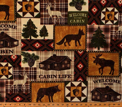 Fleece Cabin Life Cabins Animals Moose Deer Wolves for sale  Delivered anywhere in USA