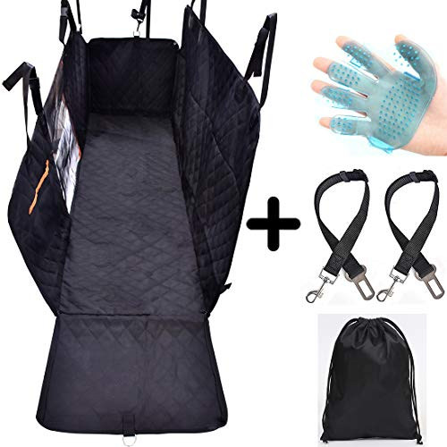 OPET Dog Pet Car Seat Cover with Mesh Viewing Window – Dog Hammock with Storage Pocket – Waterproof Non-Scratch Nonslip Large Backseat Cover, 2 Side Flaps, 2 lanyards – Seat Anchors for Car Truck SUV