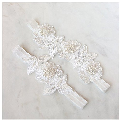 yanstar Wedding Bridal Garter White Stretch Lace Pearls Bridal Garter Sets Wedding by yanstar