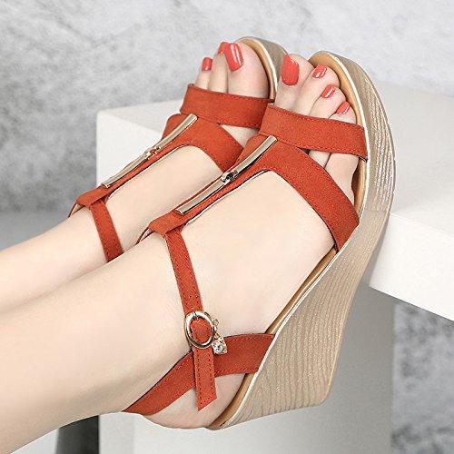 heeled Damen Sandalen dick mit Orange high Sandalette Damen Women's Damen Shoes Sandals Sandalen Comfort Shoes Walking Hang Sandalen wvBOYqX