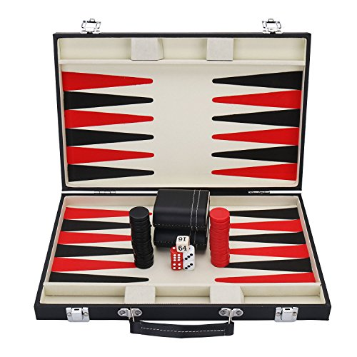 KAILE Backgammon Set with Travel Leatherette Carrying Case for Kids and Adults Black and Red Backgammon Set with Travel Leatherette Carrying Case for Kids and - Backgammon Set Game