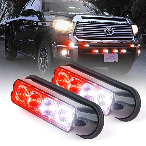 Xprite White & Red 4 LED 4 Watt Emergency Vehicle Waterproof Surface Mount Deck Dash Grille Strobe Light Warning Police Light Head with Clear Lens - 2 Pack