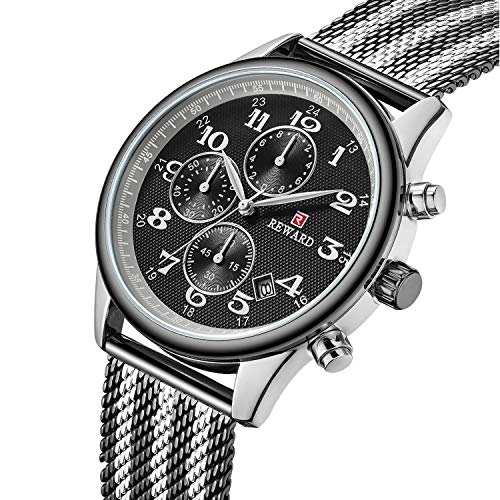 Mens Business Casual Fashion Waterproof Black Wrist Watches Classic Calendar Date Window Chronograph Dress Stainless Steel Watch