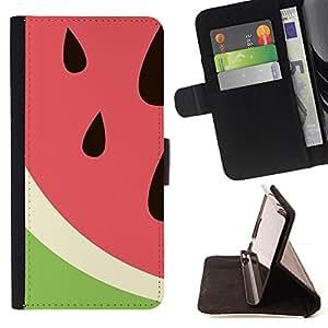 - Watermelon Fruit Cute/ Personalizada del estilo del dise???¡Ào de la PU Caso de encargo del cuero del tir????n del soporte d - Cao - For Apple Iphone 5C
