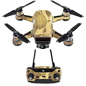 MightySkins Skin Compatible with DJI Spark Mini Drone Combo – Steam Punk Paper   Protective, Durable, and Unique Vinyl Decal wrap Cover   Easy to Apply, Remove, and Change Styles   Made in The USA