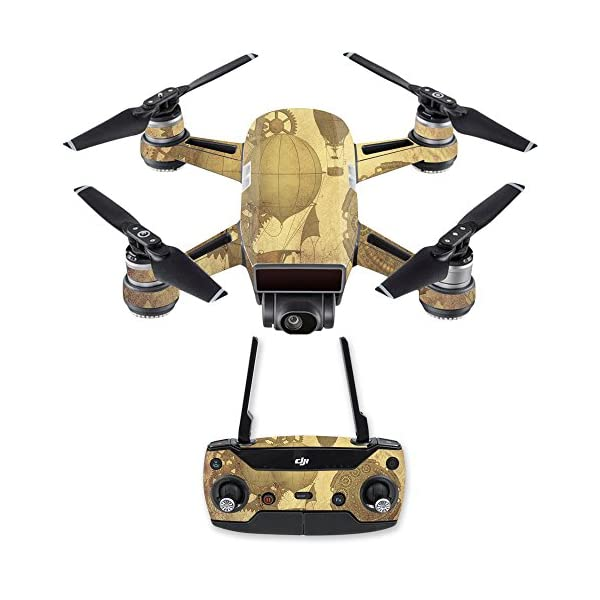 MightySkins Skin Compatible with DJI Spark Mini Drone Combo - Steam Punk Paper | Protective, Durable, and Unique Vinyl… 3