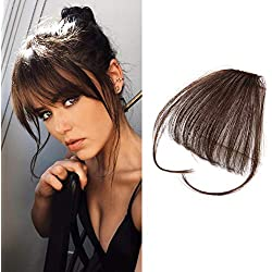Reysaina Human Hair Extensions Clip in Hair Bangs Dark Brown #4 Air Hair Bangs Real Hair Pieces for Women