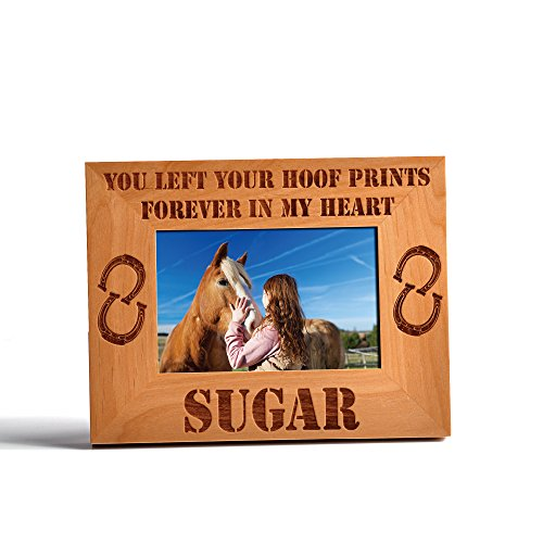 Personalized Horse Memorial Wood Photo Frame Your hoof prins forever 4x6 (Memorial Wood Picture Frame)