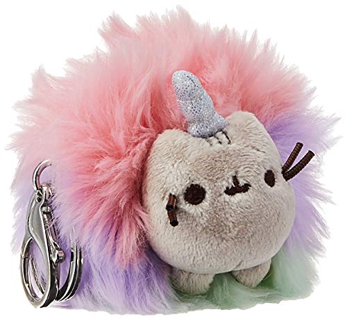 """GUND Pusheen Rainbow Unicorn Cat Plush Pom Deluxe Keychain, 4"""""""