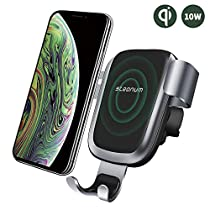 Wireless Car Charger, Steanum Fast Gravity Car Mount Qi Car Charger Air Vent Phone Holder, 10W Fast Charging Compatible with Samsung Galaxy S9 S8 S7/S7 Edge, Note 5, 7.5W Compatible with iPhone XR/XS/XS Max/X/8/8 Plus and Qi EnabledDevices