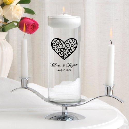 Personalized Floating Wedding Unity Candle - Personalized Wedding Candle- Includes Stand - Vintage Heart