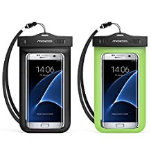 Universal Waterproof Case, MoKo [2-Pack] Cellphone Dry Bag Pouch with Armband Neck Strap for iPhone 7 Plus, 6S Plus, 7, 6S, 6, 5S, Samsung S8 Plus, S8, S7 Edge, S6 S5 S4, J7, Note 5 4, BLACK + GREEN