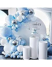 OhhGo 350 st blå tema ballong girlang båge kit macaron blå vit metallisk silver latexballonger med ballong chian lim festdekor