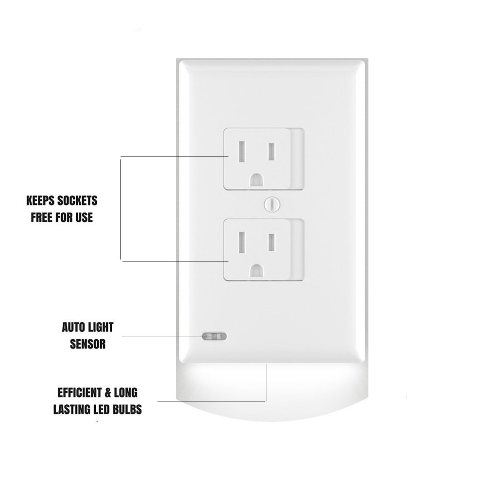 Electrical Plug Outlet Covers - Outlet Wall Plate with LED Night Lights (Outlet Wall Cover)