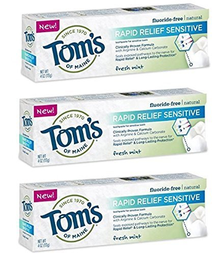 Tom's of Maine Rapid Relief Sensitive Natural Toothpaste 4 oz Fresh Mint (Pack Of 3) by KT Travel (Image #1)