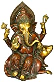 Aone India 12'' Ganesh Statue Hindu God Ganesha Brass Sculpture Ganpati Idol Decor Gift + Cash Envelope (Pack Of 10)