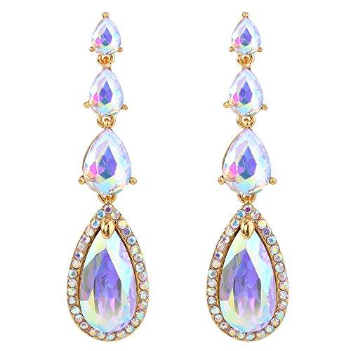 BriLove Women's Elegant Wedding Bridal Multi Teardrop Long Chandelier Dangle Pierced Earrings Clear AB - Chandelier Earrings Ab