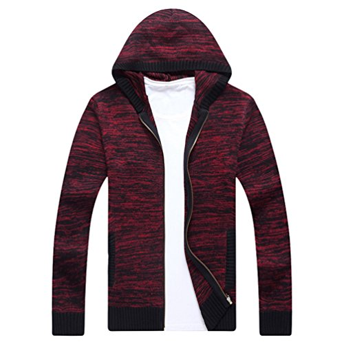 Casual Mens Cardigan Jacket Winter Coat 3 Warm Jumper Red CHENGYANG Sweater Hooded Outwear aqxwZ8Z1C
