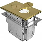 Orbit Industries FLB-R1G-BR Floor Receptacle Cover & Adjustable Box, Tamper Resistant, Brass