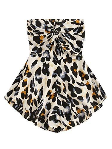 (SweatyRocks Women's Off Shoulder Leopard Print Playsuit Strapless Romper Short Jumpsuit Multi Small)