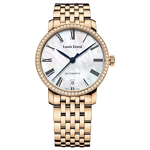 Louis Erard Women's Excellence Diamond 33mm Rose Gold Plated Bracelet Automatic Watch 68235PS04.BMA52