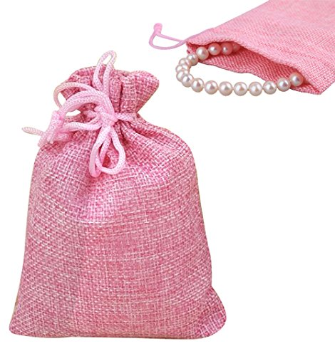 20Pcs Burlap Bags Jewelry Pouches with Drawstring, Resusable Gift Bag Jute Hessian Linen Goodie Bag Packing Storage for Wedding Party Bridal Shower Birthday Christmas Favor, 5 x 4 Inch (Pink) (Burlap In Bulk)