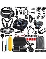 SmilePowo 48-in-1 Accessories Kit for GoPro Hero 7 6 5 4 3/3+ 2 1 GoPro 2018 Session/Fusion Black Silver DBPOWER AKASO APEMAN YI Campark SJCAM XIAOYI2 Sony Sports DV Action Camera