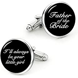 Kooer Father of The Bride Cufflinks I'll Always Be Your Little Girl Custom Wedding Personalized Cuff Links (Style 1)