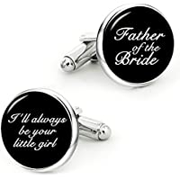 Kooer Father of The Bride Cufflinks I'll Always Be Your Little Girl Custom Personalized Cuff Links