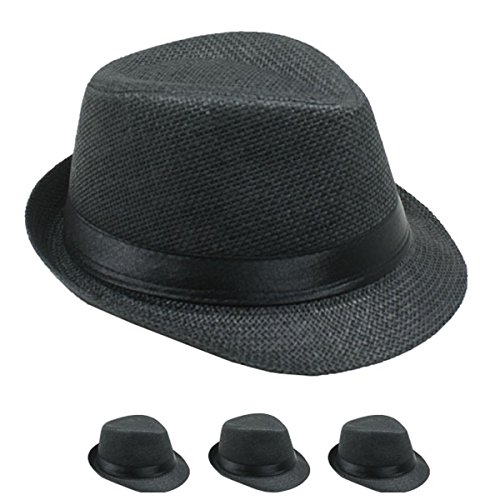 Banded Straw Fedora Hat For Kids Trilby Gangster Panama Classic Vintage Short Brim Style (Banded Straw Fedora Hat)