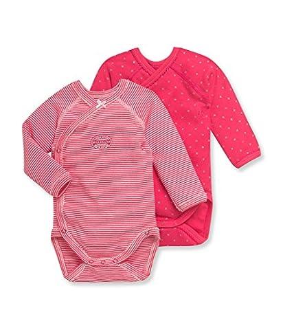 Petit Bateau Baby Girls' Fuchsia Pink 2 Pack Kimono Bodysuits, 3M (23 1/2 inches) - Petit Bateau Kimono Onesie