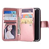 Back to School Supplies Essential 2017-For iPhone 6plus Wallet Case,Valentoria Premium Vintage Leather Wallet Case Magnetic Detachable Slim Back Cover Card Holder Slot Wrist Strap Case (Rose Gold)