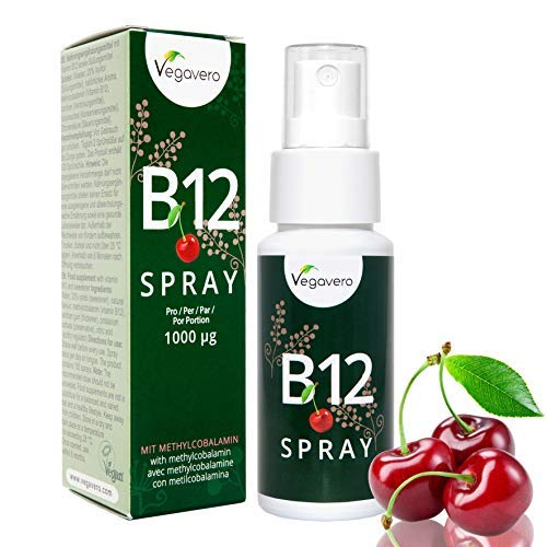 NEW: Vitamin B12 Spray 25ml | 125 Sprays, 4 Month Supply | 250 mcg per Spray, B12 Methylcobalamin | Cherry Flavour | VEGAN by Vegavero
