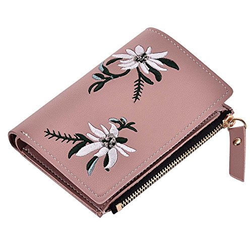 Womens Short Large Capacity White Flowers Embroidery Zipper PU Leather Functional Double Fold Coin Purse