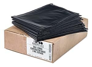 Plasticplace Black Contractor Bags, 42 Gallon, 33x48, 3.0 Mil, 50/case